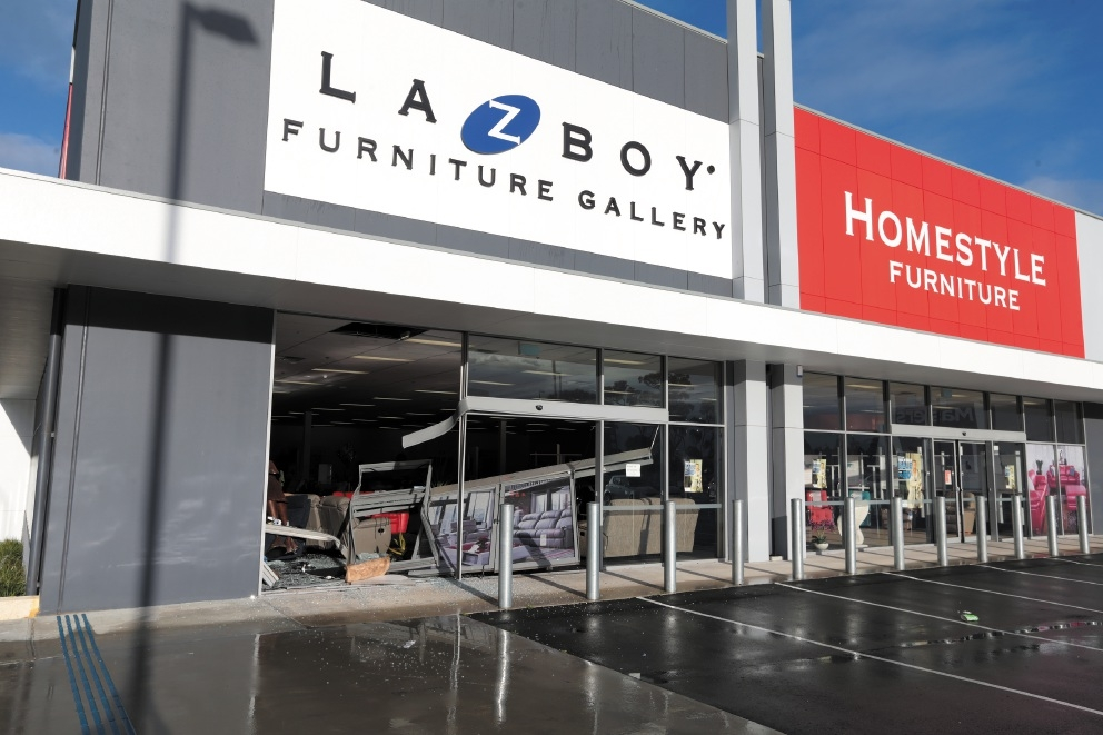 The aftermath of the ram raid at the furniture store in Joondalup.Picture: Martin Kennealey www.communitypix.com.au   d441980