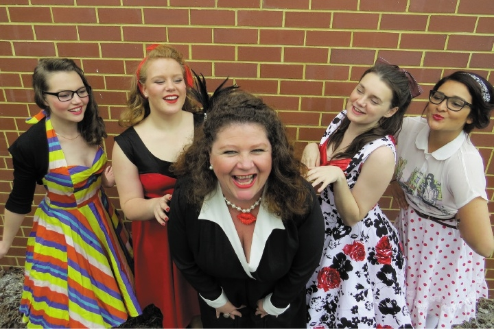 Zombie Prom features Medina resident Sara Urban, centre, as Ramona Merengue, along with Charlotte Williams, Jasmine Glenister, Chealsea Searie and Bernadette Ward. Picture: Sally Newman