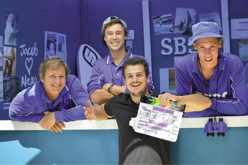 Sandy Bay director Joel Gray with actors Sean Walsh, Jesse Moorfoot and Chris Reid.