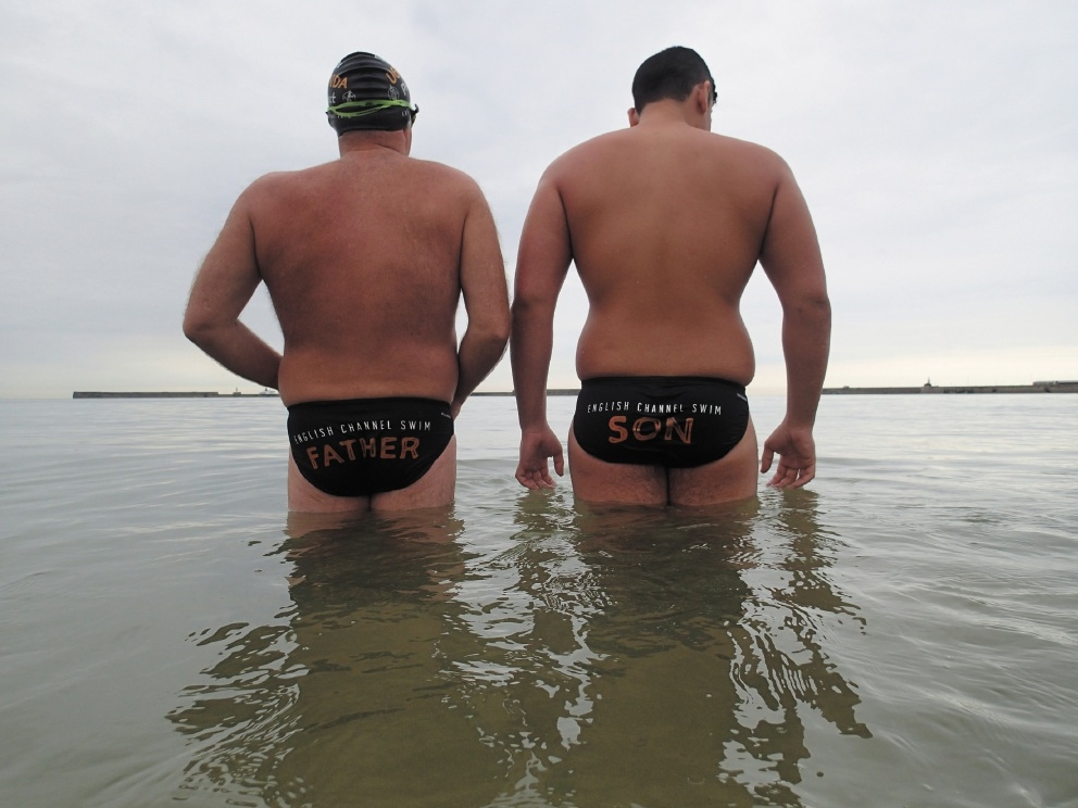 Martin Smoothy (left) and son Sam, who successfully swam the English Channel last month, are the first father-and-son team to do so.
