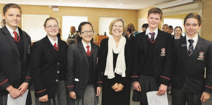 Professor Lyn Beazley with Big Science Competition high distinction winners Mikala Bower,Bianca Van der Spuy,Faith Chang,Christy Bower and John Matthews.Picture: Martin Kennealey  www.communitypix.com.au   d441843