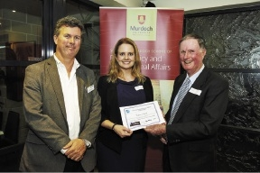 Professor Benjamin Reilly with scholarship winner Claire Smith and Professor Mal Nairn.