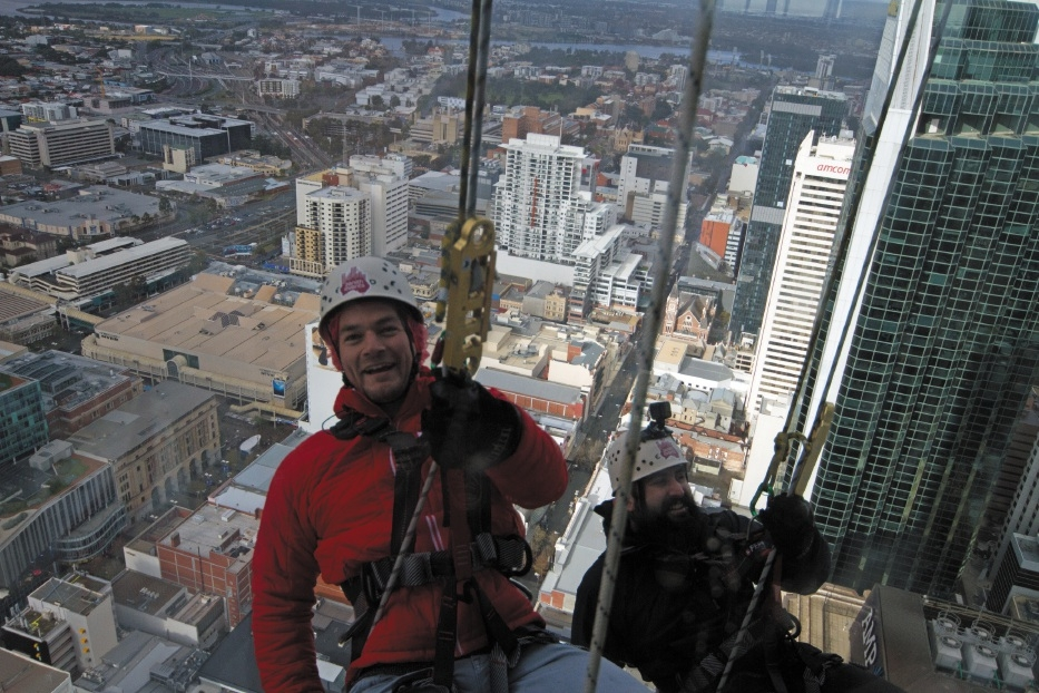 Clue Design general manager Johannes Weirather abseiled down Central Park for charity.