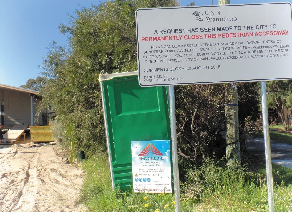The City of Wanneroo has proposed closing an accessway.