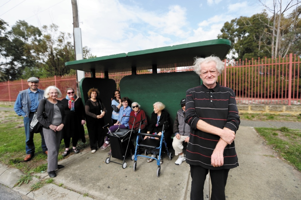 Bob Middlemiss and fellow residents are angry a change to bus route 15 will disadvantage the disabled and seniors.Picture: Andrew Ritchie  d441568