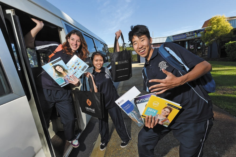 Southern River College Year 10 students Nikki Forster, Alifia Hasan and Tenuun Sanjaadorj on their way to the expo.