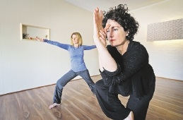 Darleen Clausen and Josephine Tanham at The Yoga Practice. Picture: David Baylis  d441737