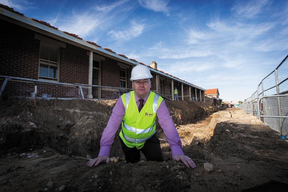 Defence Housing Australia regional director Mark Turtle onsite at the Gunners Cottages, which are nearly ready for residents to move into following restoration work. Pictures: Will Russell        www.communitypix.com.au   d441764