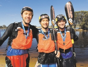 The triple kayak team of Ben Dallin, Matt Coutts and Brett McDonald, calling themselves Unbrok3n, raced to the finish line in a time of 8:49. www.communitypix.com.au   d441496