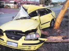 The car involved in the crash in Kiara.