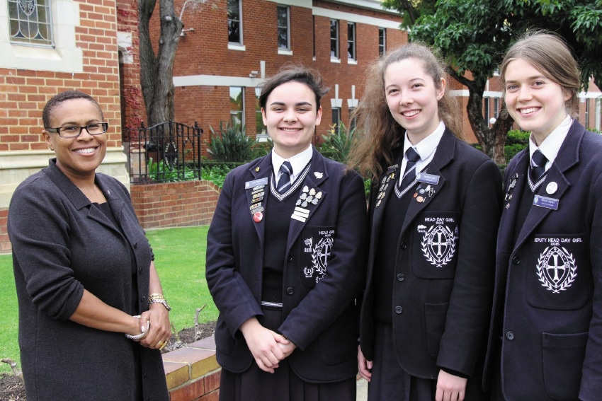 US Consul General Cynthia Griffin  with Perth College Year 12 students Lola Baldsing (Head Girl), Sophia Cain (Head Day Girl) and Alison Jones (Deputy Head Day Girl).