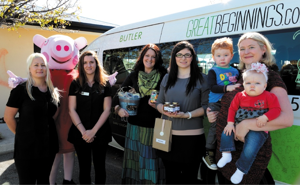 Natalie Carter and Nicole Murray from Great Beginnings with Peppa Pig-The Party Guru,Danni Bakker (Karma Kure Soaps - Clarkson),Ana-Lavinia Stefan (Ana's Homemade Goodies-Madeley) and Linsey Hale (Linsey's Community Events-Quinns) and her children Joe (2) and Layla (8-months)