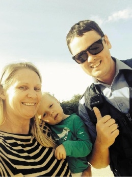 Vanessa Gleeson with son Angus and Constable Tom Micklewright.