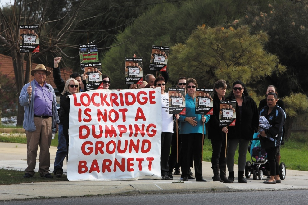 Protesters out the front of the disability justice centre in Caversham opening. Picture: Matt Jelonek. d441716