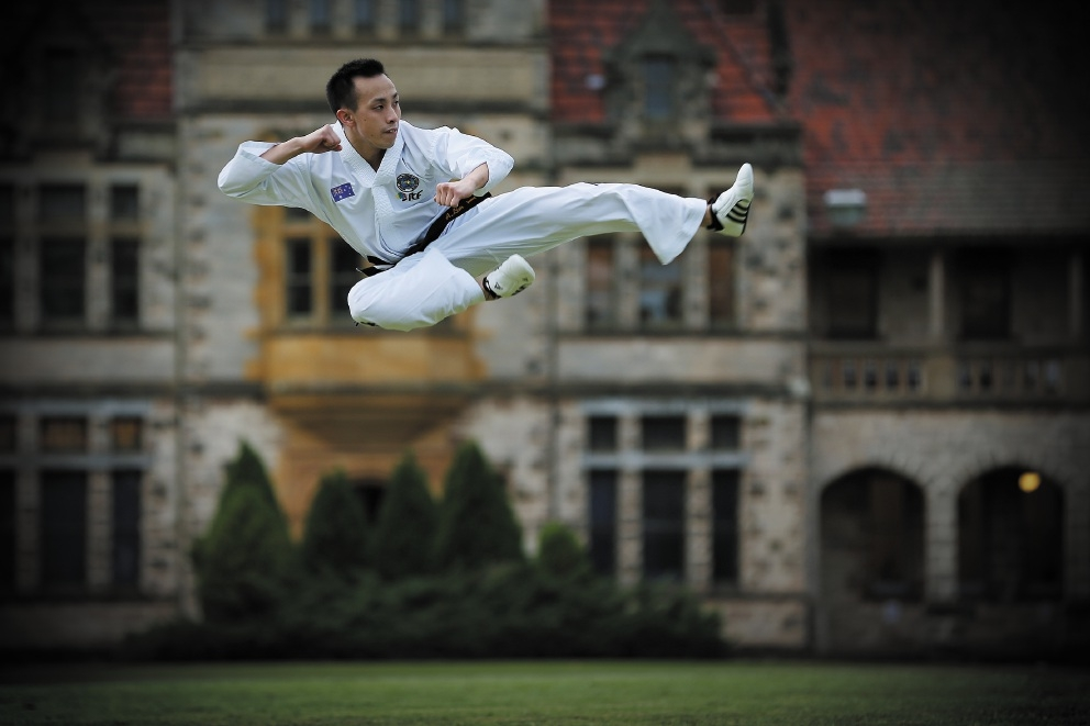 Anthony Lim finds taekwondo to be a great stress-reliever.Picture: Andrew Ritchie           d441147