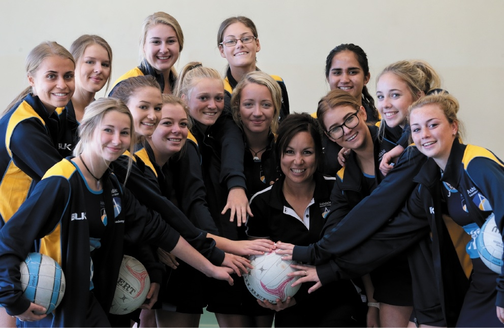 Coach Crystal Nullmeyers with Ashdale Secondary College Year 10 netball team.Picture: Martin Kennealey        www.communitypix.com.au   d441534