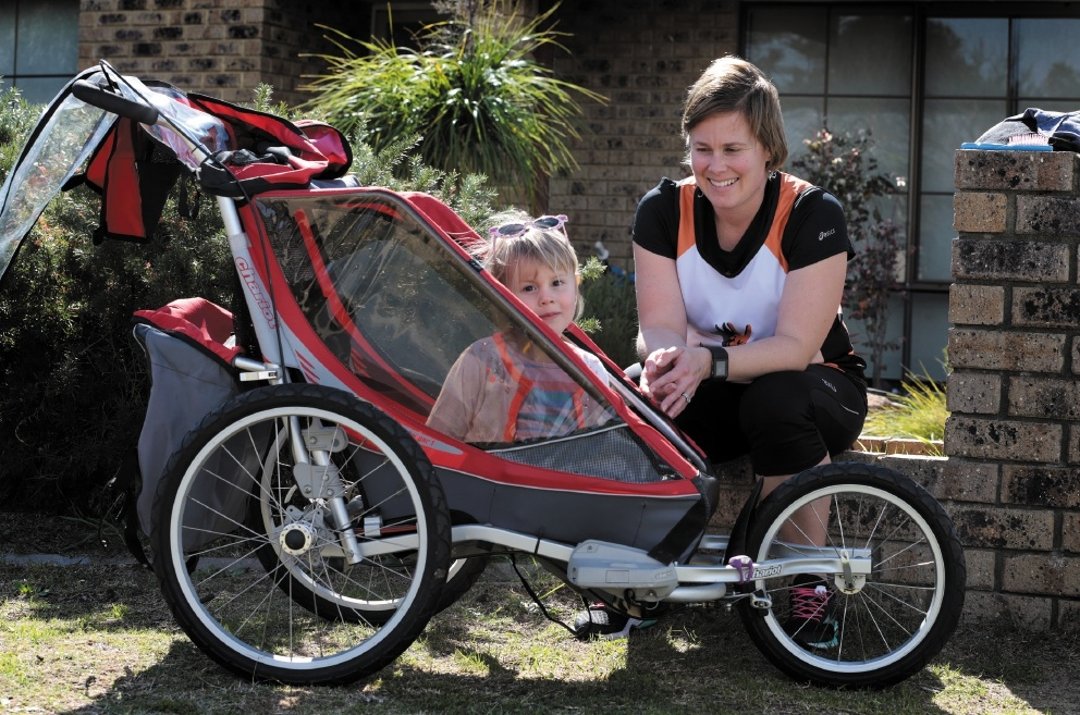 Liz, who suffered from post-natal depression, found running while pushing her daughter in her pram, has helped her.  Picture: Martin Kennealey        www.communitypix.com.au   d441685