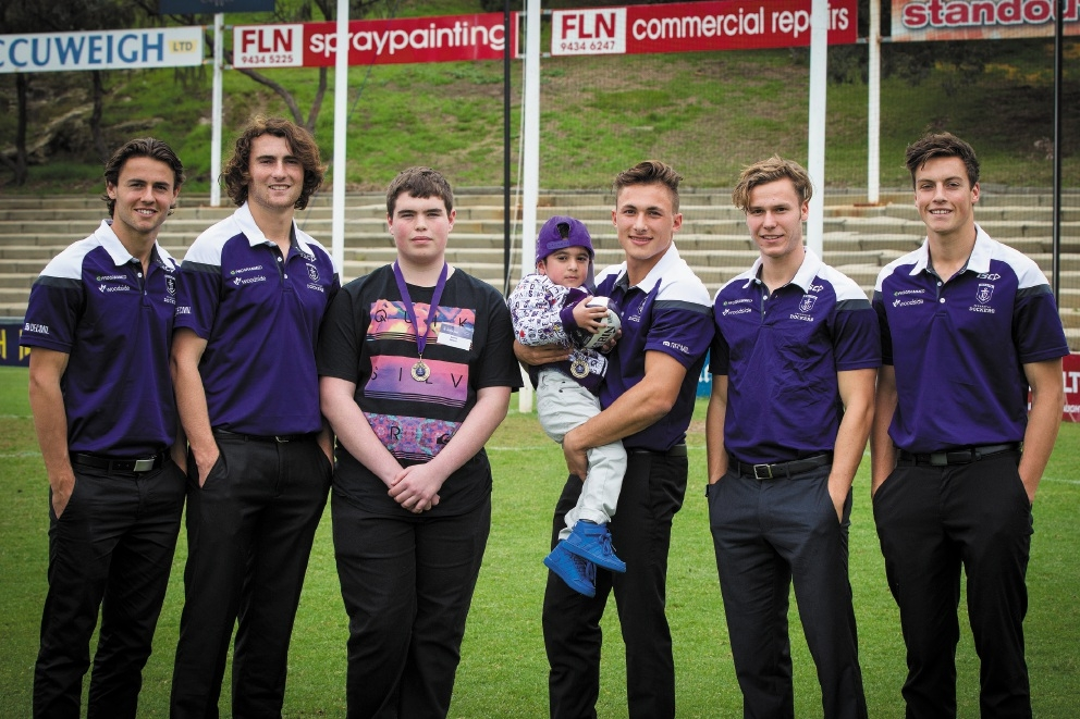 James Lennon and Salman Waheedy with Freo players Josh Deluca, Lachie Weller, |Connor Blakely, Ethan Hughes and Ed Langdon.  Picture: Will Russell         www.communitypix.com.au   d441465