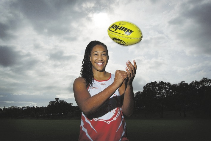 South Fremantle Women's Football Club Sabrina Frederick-Traub has been drafted to Melbourne for an exhibition match.   Picture: Will Russell          www.communitypix.com.au   d441303