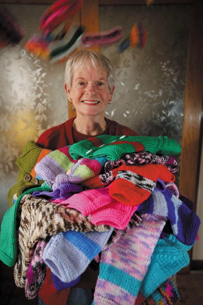 Mel Thomson has knitted more than 500 jumpers she has donated  to the CWA. Picture: Andrew Ritchie        www.communitypix.com.au   d441486