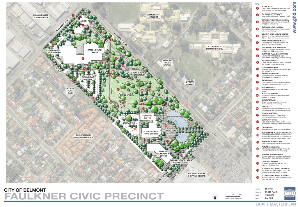 The master plan concept for the Faulkner Civic Precinct.