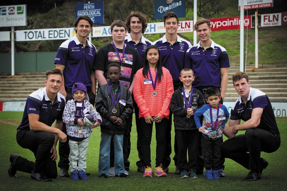 Salman Waheedy, Allaaeldin Eisawi, James Lennon, Gia Balindan, Levi Bruhn and Rasha Farrall meet some Dockers.Picture: Will Russell www.communitypix.com.au   d441465