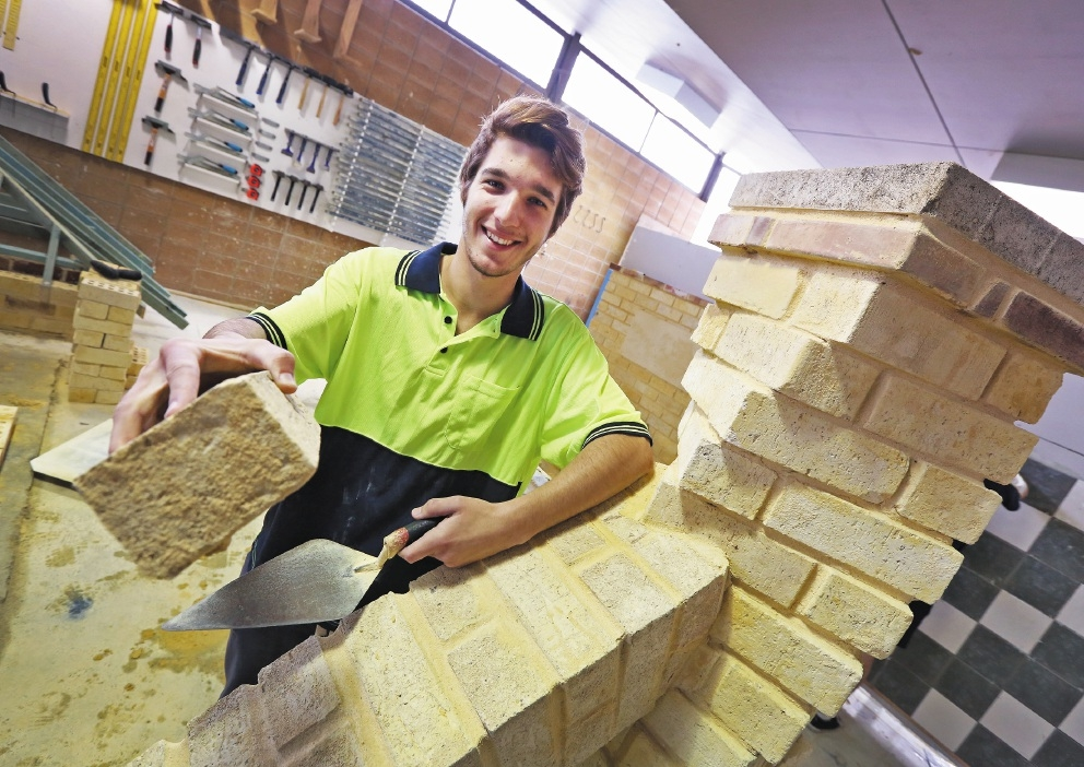Student Shaun Rubesa has been chosen to compete in the National Bricklaying Championships.Picture: Matt Jelonek        www.communitypix.com.au   d441306