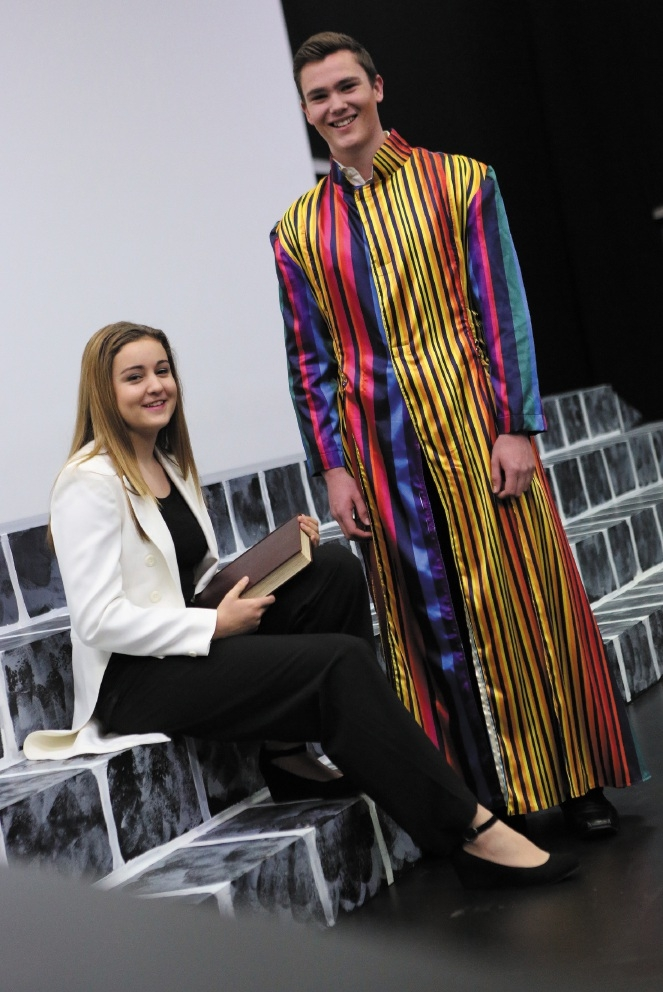 Erin Strle is the narrator and Thomas McDonald is Joseph.  Picture: Matt Jelonek         www.communitypix.com.au          d441341