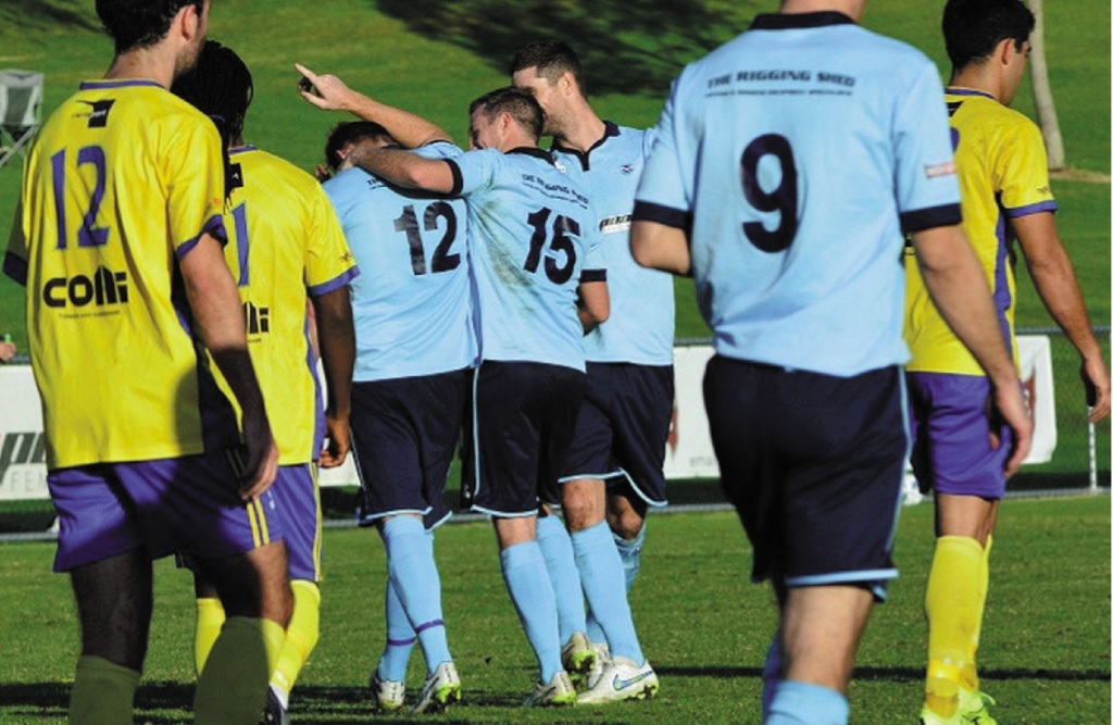 Sorrento's Jack Eades (12) and Scott Bulloch (15) share a laugh.Picture courtesy of Inglewood United