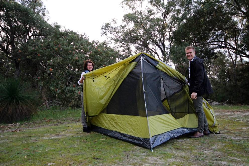 Yanchep National Park's Julia Coggins and Environment Minister Albert Jacob at the future campsite.