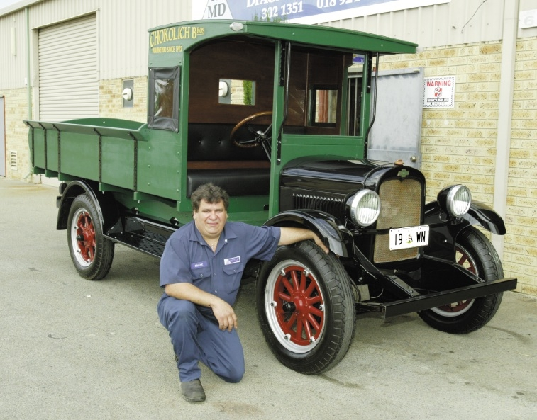 Frank Puglia with the restored 1928 Chevrolet 4.