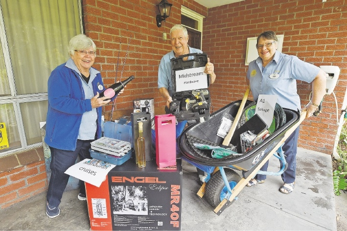 Ruth Norwell, Des McLean and Joyce Covell with prizes for the monster quiz. Picture: Jon Hewson. d441046