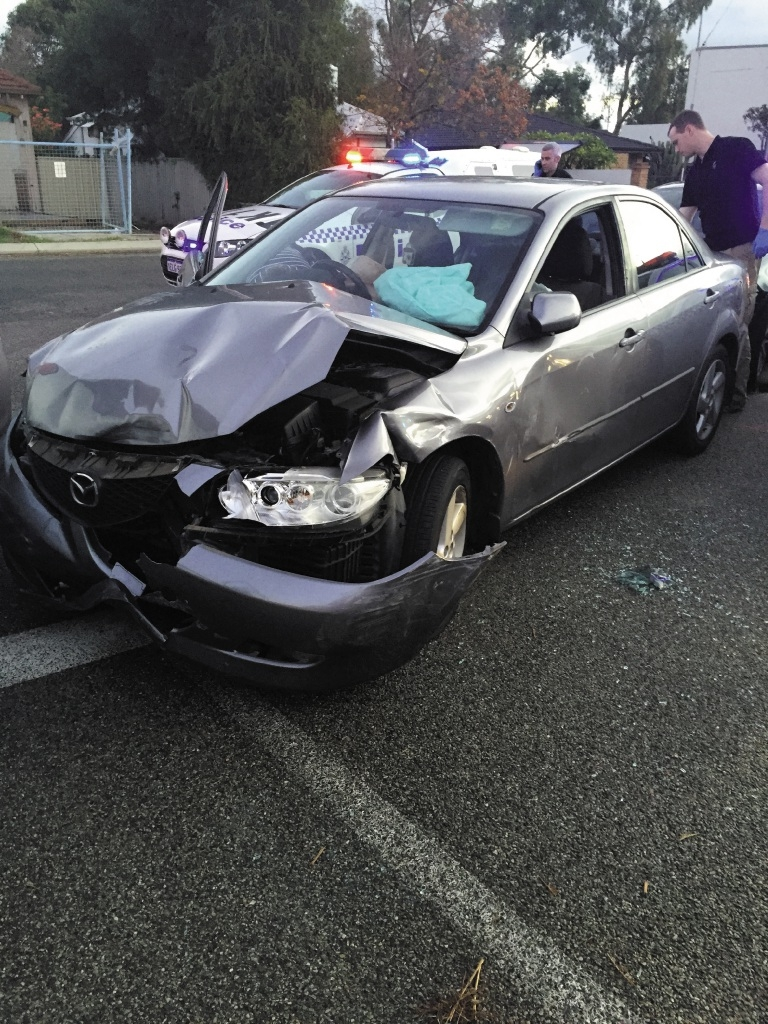 The car involved in the police pursuit.