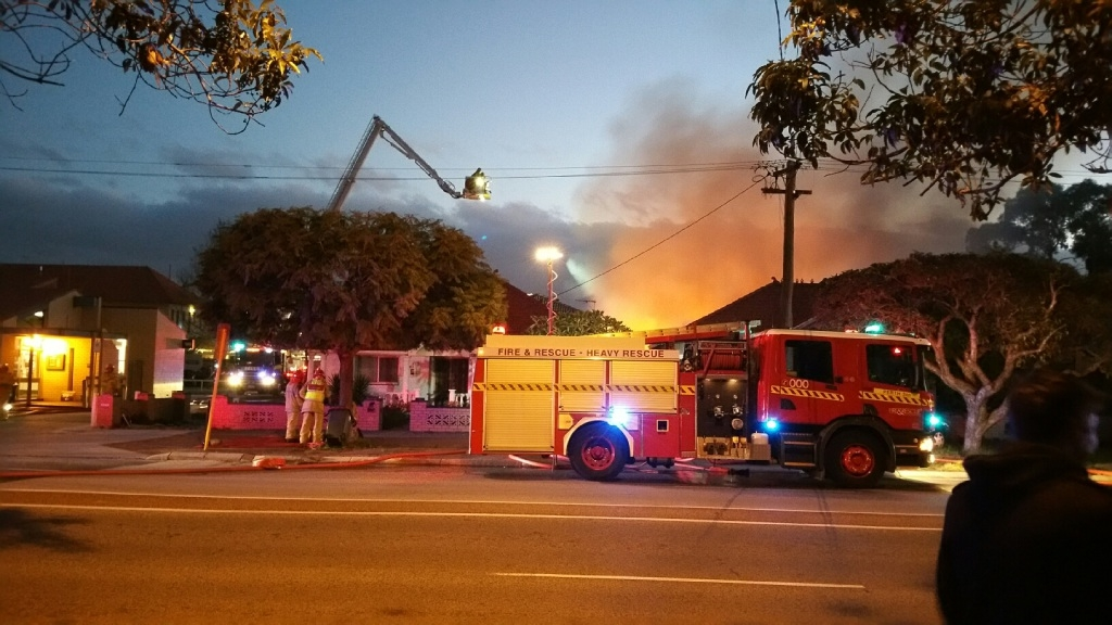 Fire fighters at the scene of the blaze. Picture and video: David Baylis.