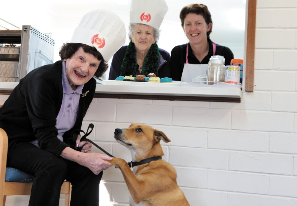 Eileen Hallam, Mary Cullen, cook Audrey Hurley and Poppy.  Picture: Martin Kennealey    d441086