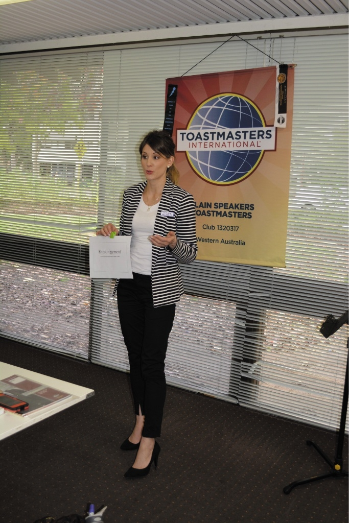 Desiree Holz speaking at a weekly Plain Speakers meeting.