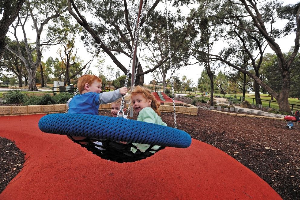 Luke Sanders (2),Riley Mann (4) and Emily Nemere enjoying some of Wanneroo's excellent facilities for children. Picture: Martin Kennealey www.communitypix.com.au   d441239