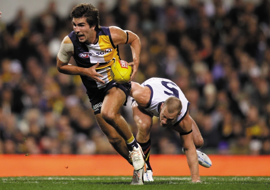 West Coast star Andrew Gaff is in trouble for his derby hit on Fremantle's Andrew Brayshaw. File Picture: Getty Images