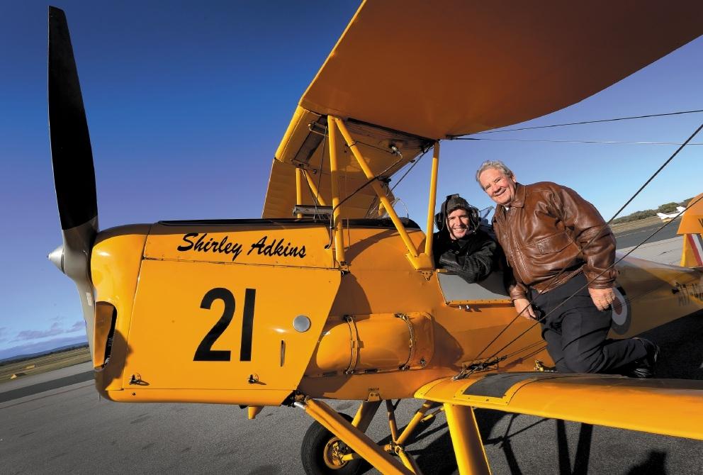Brad Hogg with pilot instructor John Douglas. Picture: Matt Jelonek    d440811