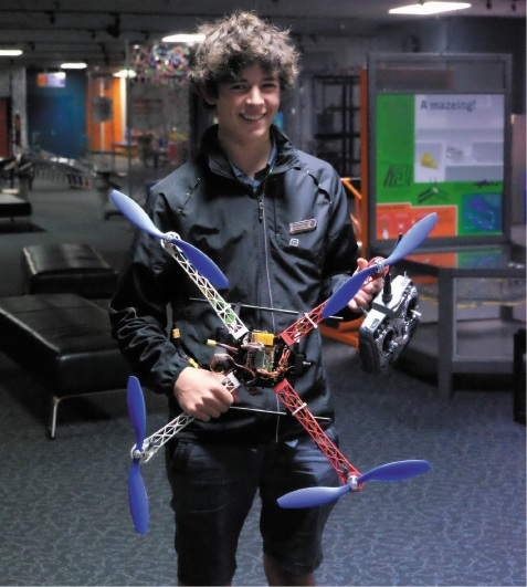 Ben Read with the quadcopter he built during work experience at Scitech.