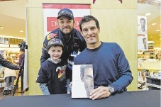 Ben and and Oliver Spencer (5) with Mark Webber. Picture: Jon Hewson        www.communitypix.com.au   d440778