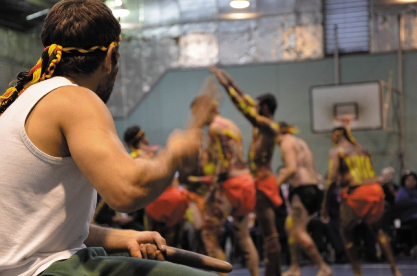 Acacia prisoners dance to celebrate Naidoc Week.