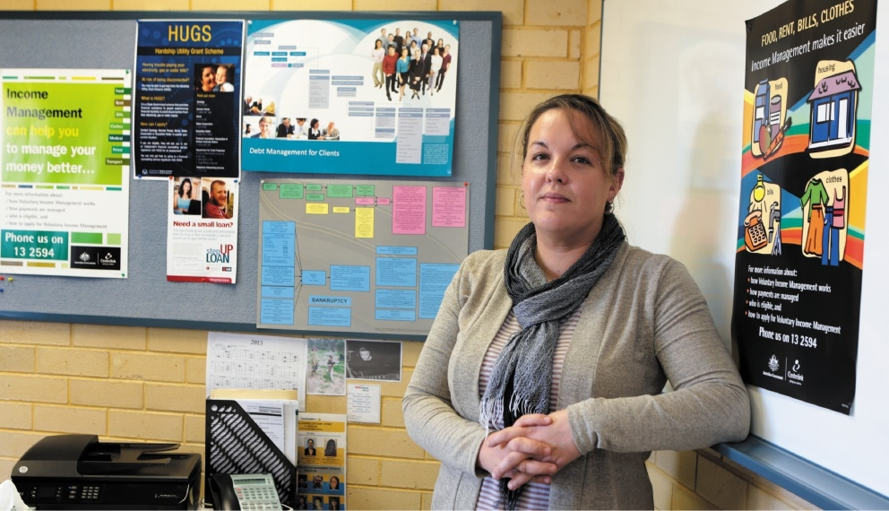 Financial counsellor Katrina King sees up to three clients a day. Picture: Martin Kennealey         d440763
