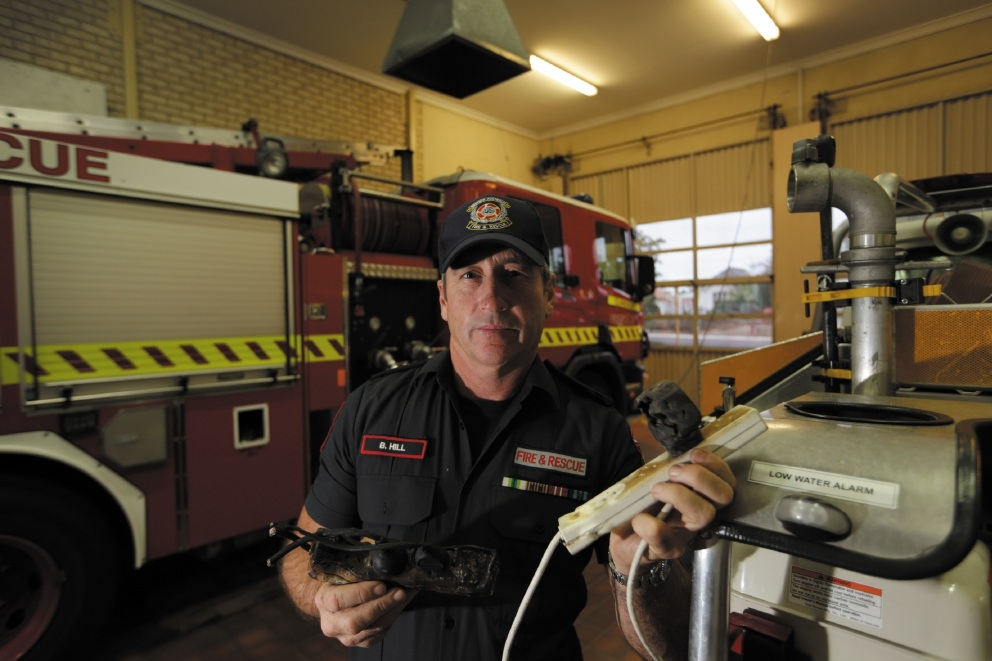 Claremont fire station officer Brian Hill with powerboards that have caused fires in homes.  Picture: Andrew Ritchie www.communitypix.com.au   d440213