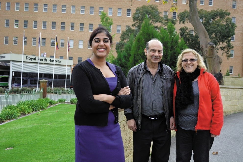 Royal Perth Hospital colorectal surgeon Mary Theophilus with Michael Zirino and his wife Rosa.