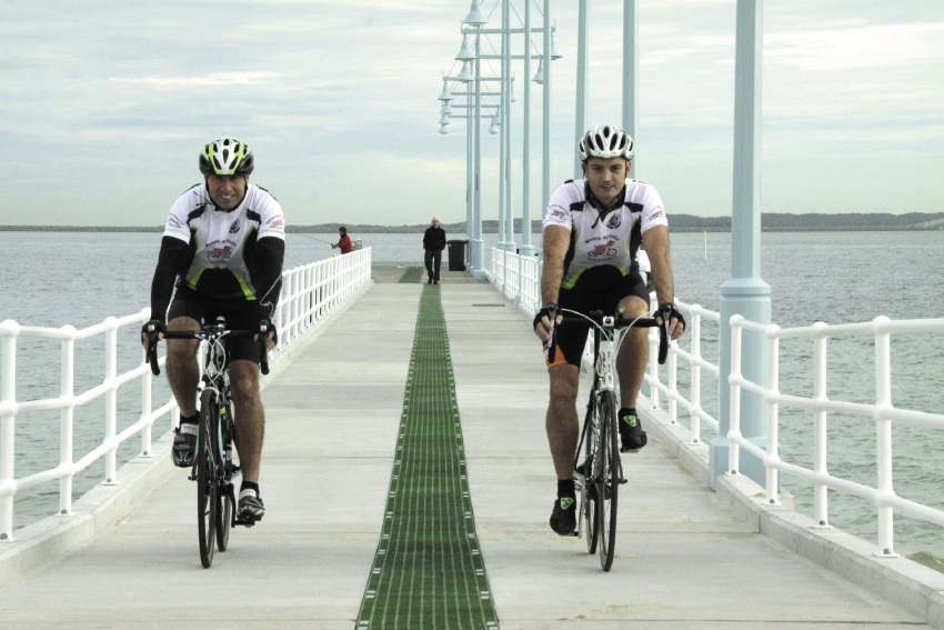 Senior Constable Taj Wrona and Constable Rob Huntington are training hard for their fundraising ride.