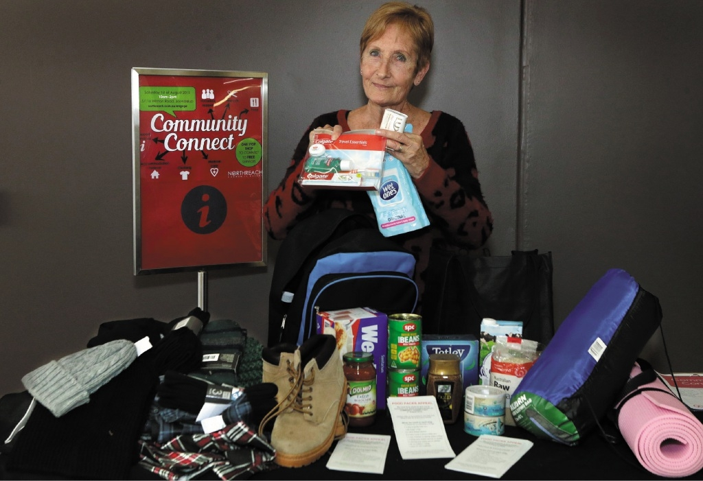 Jan Gilbert, of Northreach Community Church, with goods for the homeless. The church has a weekly drop-in centre which offers goods and services to the struggling.Picture: Martin Kennealey www.communitypix.com.au   d440163