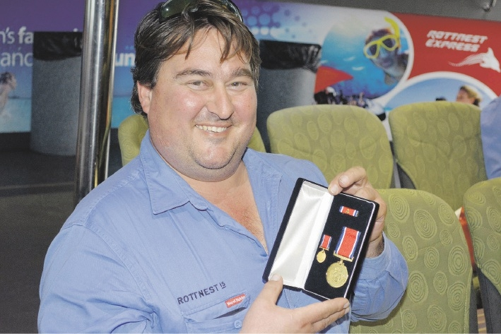 Pasko Mikulandra received a service medal and clasp for his contribution as a volunteer firefighter.
