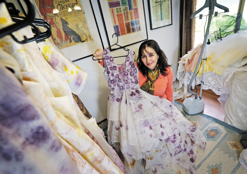 Zuhal Kuvan-Mills with her latest collection being prepared at her studio at home in Brigadoon. Picture: David Baylis d440205