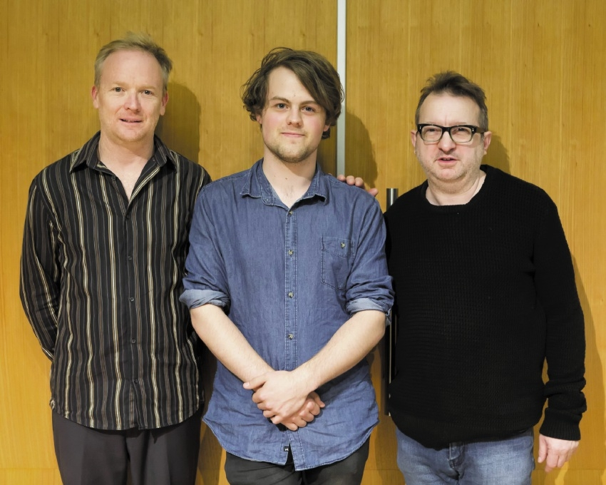 James Ledger, Josten Myburgh and composer Mark-Anthony Turnage.